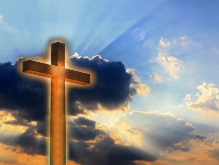 pasqua cristiana: Croce nel fuoco sul cielo