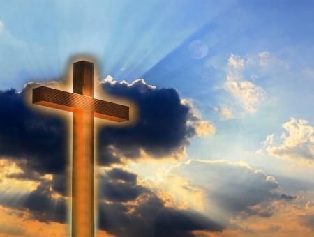 cross light: Cross in fire on sky