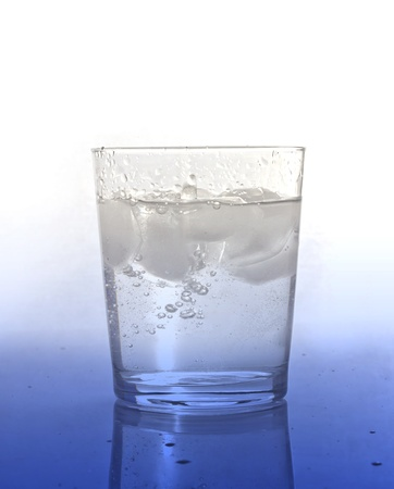 Glass of water with ice photo