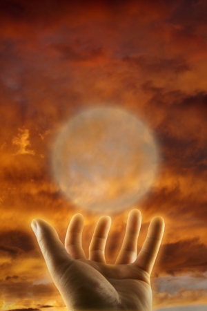 parapsychology: healing hand esoteric concept
