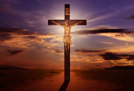 golgotha: cross easter and sunset abstract Stock Photo