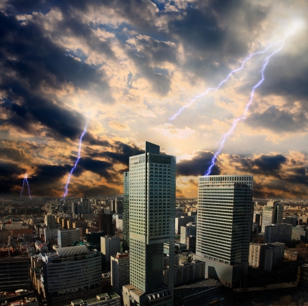 Apocalypse lightning storm in the city photo