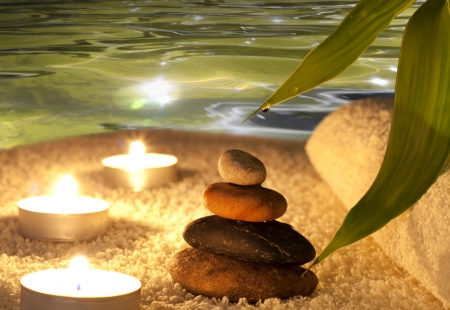 piedras zen: Spa concepto de la noche