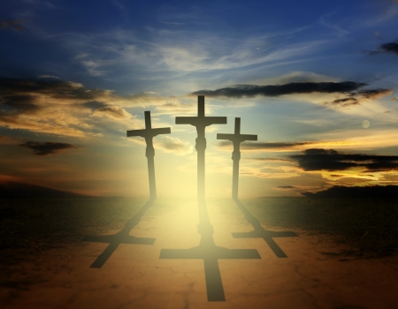 golgotha: Easter three crosses