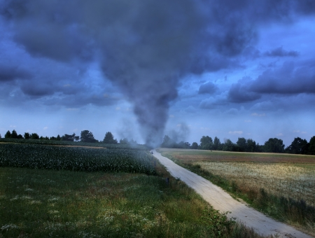 storm damage: Tornado on the road Stock Photo