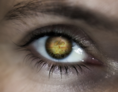 doom: World war eye vision prophecy Stock Photo