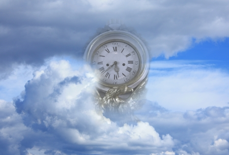the end of time: time flies to end of world metaphor Stock Photo