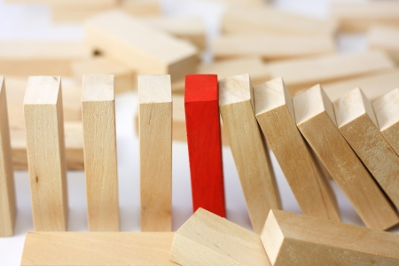 domino effect:  Leadership and team abstract business concept