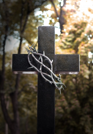 sacrifices: Crown and thorns hanging on easter cross  Stock Photo