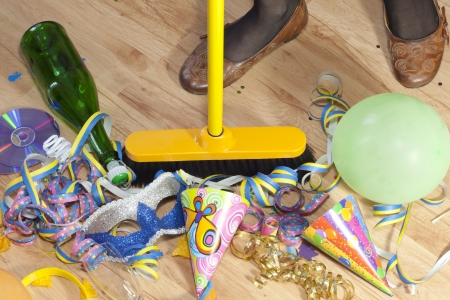 after party: mess after party and cleaning