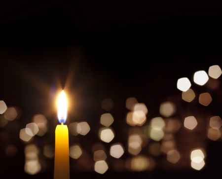 christmas memories: candles light abstract background in night Stock Photo