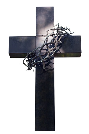 jesus christ crown of thorns: cross and thorns isolated