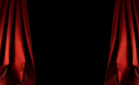 archiitecture:  red curtain background on dark Stock Photo