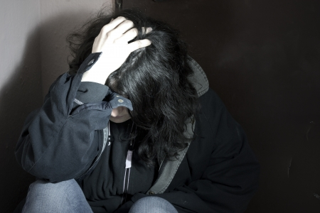 distraught:  depression and woman Stock Photo