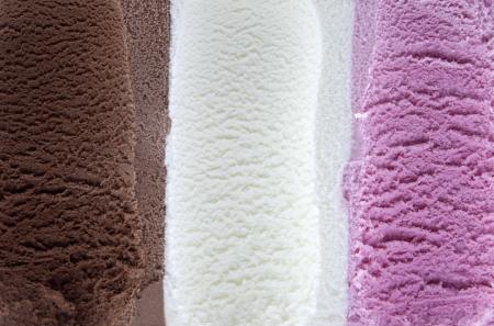 icecream: Vanilla chocolate and strawberry ice cream Stock Photo
