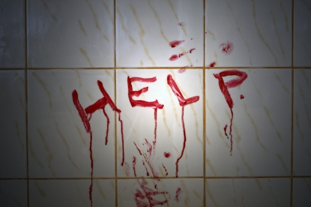horror background: Help bloody inscription in the bathroom   Stock Photo