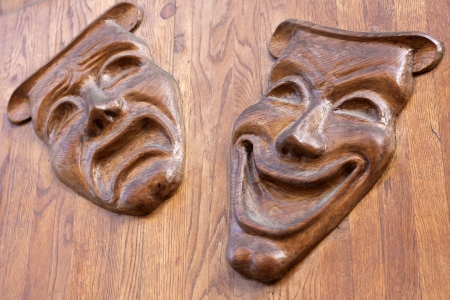 theater wooden mask background concept photo