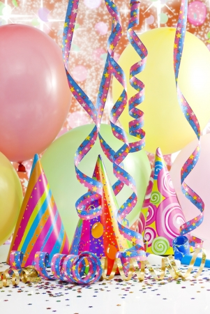children party:  party colorful birthday background with balloons Stock Photo