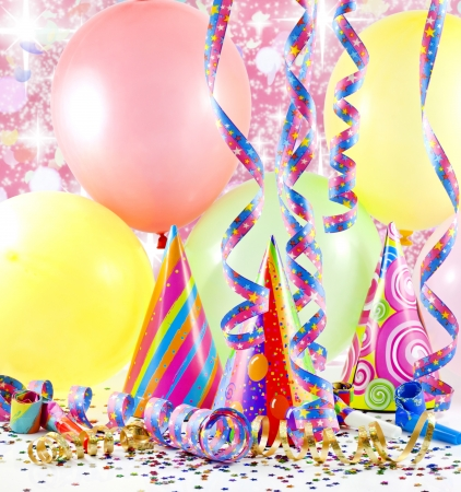 noisemaker:  party colorful birthday background with balloons Stock Photo