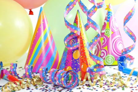 party background:  party colorful birthday background with balloons Stock Photo