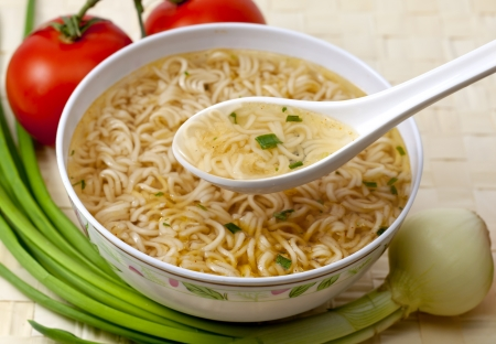 cooked instant noodle:  chinese instant soup Stock Photo