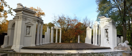 amphitheater: Theater on the water in Warsaw panorama Editorial