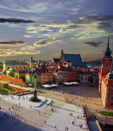 Warsaw castle square and sunset photo