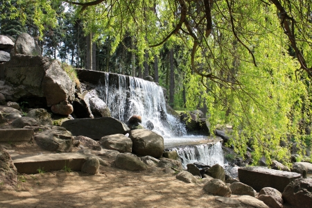 rica: waterfall in the park in Warsaw