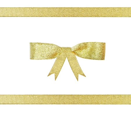 golden ribbon gift present bow isolated on white  photo