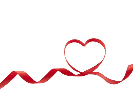 ribbon two red hearts isolated  Stock Photo