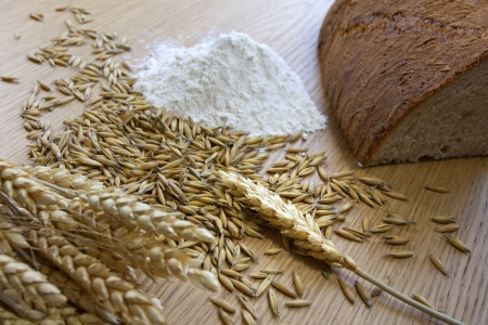 bread organic wheat and flour composition Stock Photo