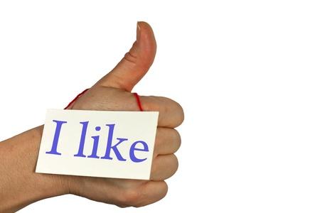 frendship: social media i like thumb up hand isolated Stock Photo