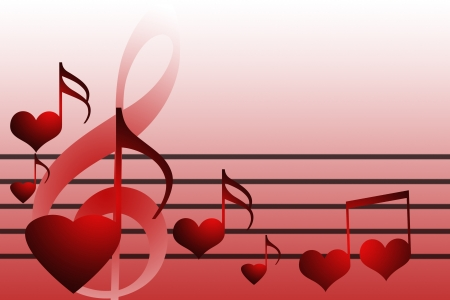 abstract music hearts background concept