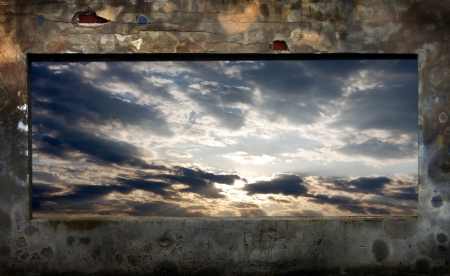 old grunge wall and sky abstract background in night photo