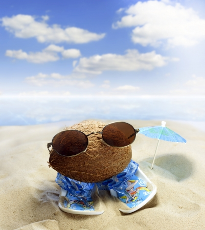 pics:  Coconut at beach with glasses and sandals fun concept Stock Photo