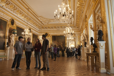 Royal Castle in Warsaw in Poland inside with tourists
