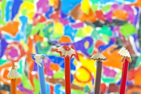 scobs:  sharpened pencils on colorful background Stock Photo