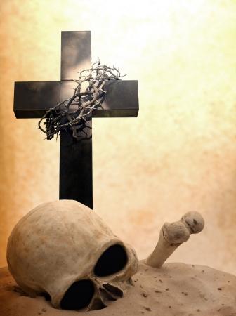 Cross skull and bones doomsday revelation concept photo