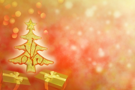 Abstract of christmas tree with gifts background concept photo