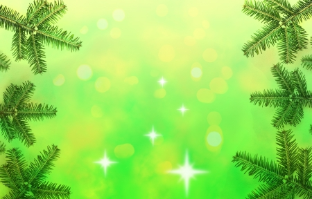 Christmas tree frame border on the green background photo
