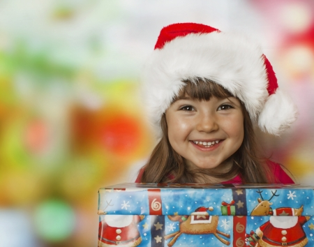 Christmas gift and happy child photo