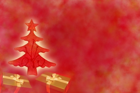 Christmas red tree with gifts abstract background design photo