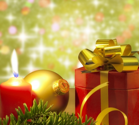 free christmas background:  Christmas gift candle and bauble background