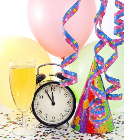 New year party with clock balloons champagne and clock Stock Photo - 14349634