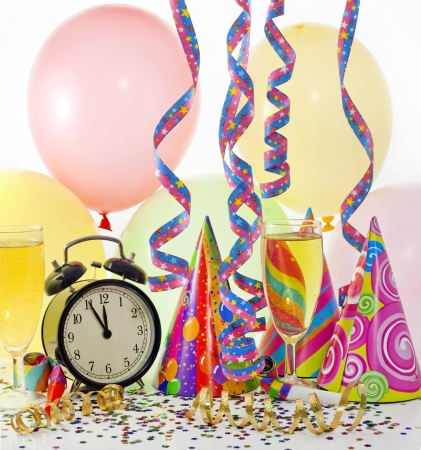 New year party with clock balloons champagne and clock photo