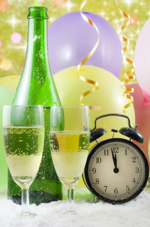 New year party with champagne clock and balloons photo