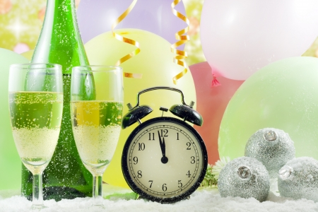 New year party with champagne clock and balloons Stock Photo - 14349614
