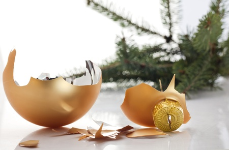 Concept of the end of christmas with broken bauble