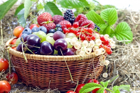 strawberry baskets: pile of fresh berries and fruit on white background  pile of fresh berries and fruit on white background