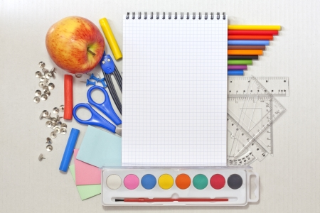 School education background with blank exercise book photo